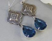 June Wedding,Earring,Vintage Earrings,Blue,Sapphire, Sapphire Earrings,Filigree,Navy,Rhinestone. Handmade Jewelry by valleygirldesigns.