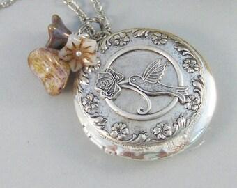 Hummingbird,Locket,Silver Locket,Flower,Bird,Purple,Ivory,Antique Locket,Floral,Jewelry. Handmade jewelry by valleygirldesigns.
