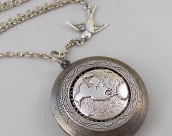 Little Traveler,Locket,Silver Locket,Bird,Wing,Globe,World,Sparrow,Antique Locket,Steampunk. Handmade jewelry by valleygirldesigns.