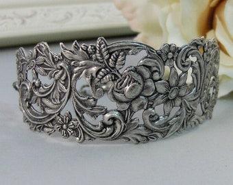 Guinevere,Bracelet,Cuff,Silver Bracelet,Cuff Bracelet,Bracelet,Silver,Antique Bracelet,Wedding,Bride.Handmade Jewelry by valleygirldesigns.