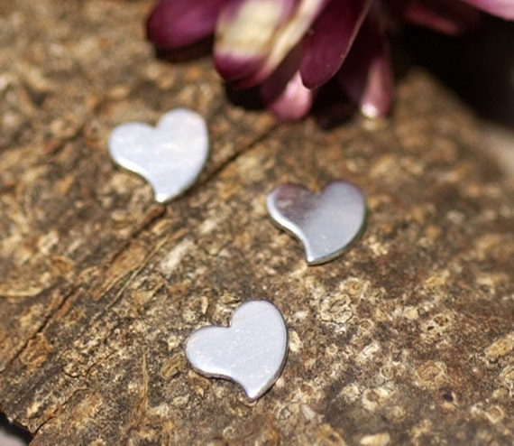 Sterling Silver 24g Whimsey Heart 6mm x 6.5mm Metal Blanks Shape Form -925