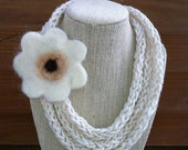 Ivory Knitted Scarf Necklace With Cream Wool Felt Flower