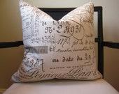 Lyon Script Print Pillow