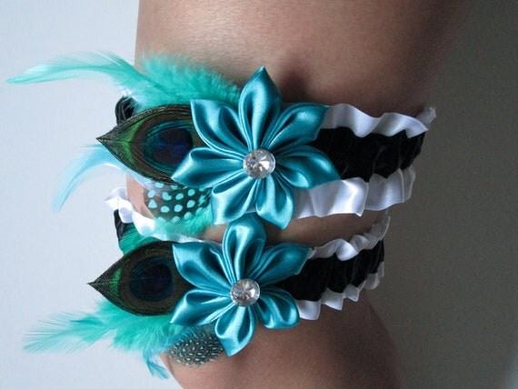 Teal Blue Wedding Garter Set Peacock Garter Turquoise