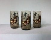 Vintage Butterfly Glasses ... Smokey 1970's Drinking Glass ... Set of 3