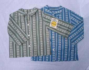 Vintage OLD STORE STOCK (New Old Stock).  Girls Camp Shirts. Two: Size 6x (Green) Size 10 (Blue)