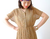 Vintage japanese earth yellow dress with flowers, small