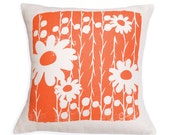 Decorative Pillow, Orange, Flower, Daisy, 20 inch, Hand Screened on Cotton Bark Cloth - erinflett
