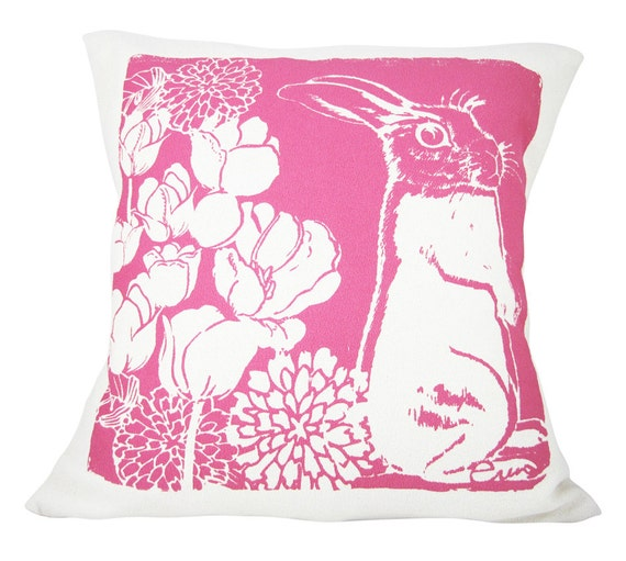 Hot Pink Bunny Pillow, Kid Pillow, Hot PInk, Cotton Bark Cloth, 20x20 inch, Silk Screened