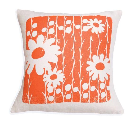 Decorative Pillow, Orange, Flower, Daisy, 20 inch, Hand Screened on Cotton Bark Cloth