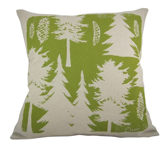 Decorative Pillow, Green, Pine Trees, Maine Woods, Hand Screened, Cotton Bark Cloth 10 Inch