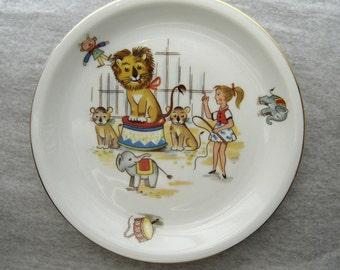 Vintage Plate Circus Lion-Tamer Porcelain Könitz Germany 1950s/60s