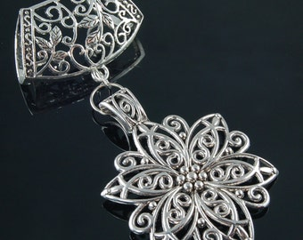 Scarf Pendant - Silver Filigree Flower Scarf Jewelry