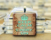 Keep Calm Pendant Necklace - Blue & Brown #195