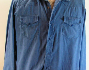 vintage western shirt mens large denim blue cowboy rockabilly