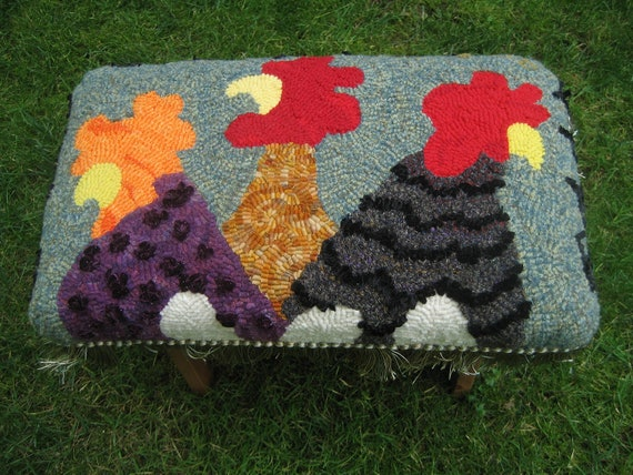 """Hooked """"Funky Chickens""""  Footstool"""