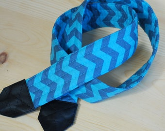 Turquoise Tonal Chevron SLR Camera Strap with Leather Ends- Free Shipping