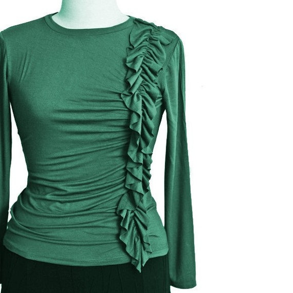 Ruffle Top, Long Sleeve Shirt, Plus Size Top With Ruffles,  Shirred Women's Top