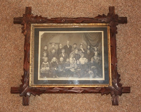 Antique Folk Art Tramp Art Frame W Old