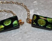 Dichroic Fused Glass Sweater Guard with Gold plated Chain