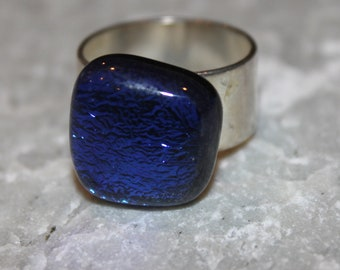 ON SALE !!  Dichroic Fused Glass Ring Vibrant Blue on Adjustable Sterling SIlver Plated Frame