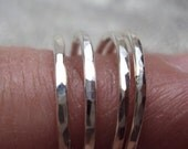 5 rings, 18g thick, argentium sterling silver, stacking rings, with PRIORITY shipping inside usa only