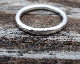 set of 2, Jewelry, ring, 16g, faceted, band, simple, sophisticated, argentium sterling silver, mto in any size