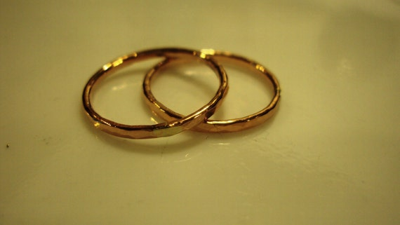 4 rings - etsy jewelry, 14kt ROSE gold filled, stacking, faceted, hammered, any size,