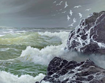 Seeking Shelter Paper Giclee Print Seascape Ocean by Carol Thompson