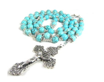 Blue Turquoise Rosary Beads with Pardon Crucifix