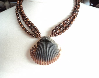 Scallop Seashell and Pearl Necklace