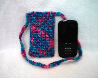 Crocheted Cross Body Cell Phone Pouch