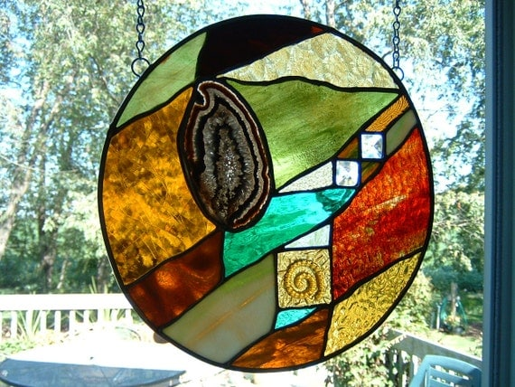 Stained Glass Abstract Geometric Geode Round Earthtone Bevel  Prairie Panel Sun Catcher