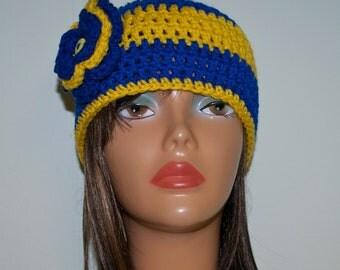 Custom Crochet Beanie Hat with Flower/ Sigma Gamma Rho / Sorority/ Adult Size