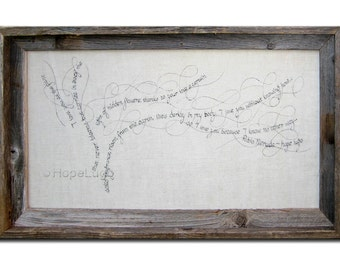 Pablo Neruda Calligram Tree on White Linen