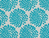 SALE - Protea screen-printed fabric panel (aqua on birch) - Batch 1