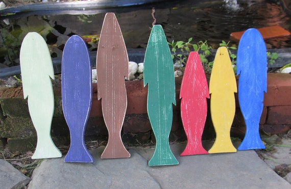 OOAK Upcycled Wooden Fish. Wall hangings. School of Fish 7 fish. Made to Order.