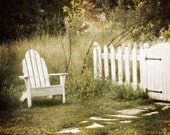 Adirondack Chair and Picket Fence Photograph white leisure backyard home ethereal green vacation relax home decor