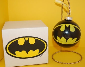 Batman Ornament Gift Set Hand Painted Glass and Gift Box