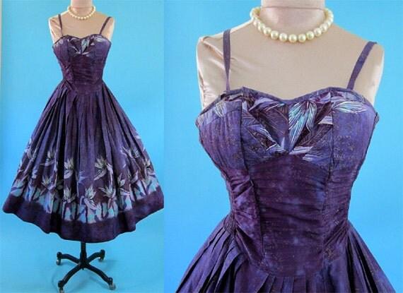 Vintage ALFRED SHAHEEN 1950's 50's Rare Purple Blue Bronze Metallic Bird of Paradisae handprinted sun dress