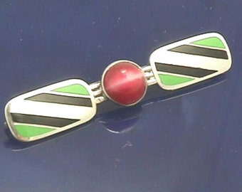 Rare Art Deco Sterling & Enamel Brooch, Silver Green Black Pink...Circa 1925  E.I. Franklin Attleboro