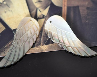 Carved Shell Wing Pendants, Mother of Pearl Wing Charms, 42mm Large- (#V1012)/ 5 Pairs=10pcs