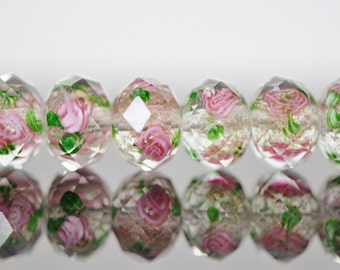 Lampwork Flower Glass Faceted Rondelle Transparent Pink Green 9x12mm  -(LL03-2) / 43Pcs