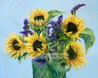 sunflower bouquet autumn pastel painting archival print