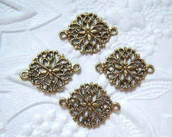 Antiqued brass round  filigree 2 ring connector lot of (4)- NR167