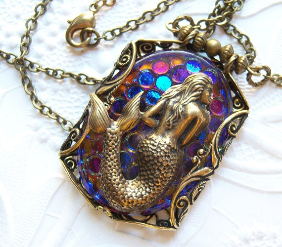 Mermaid filigree heliotrope glass handmade statement necklace FREE-SHIPPING -US - BR732