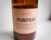 Spicy Pumpkin Scented - Eco-friendly hand poured 8oz soy candle in a recycled beer bottle