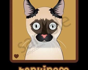 Tonkinese Cat Cartoon Heart T-Shirt Tee - Men's, Women's Ladies, Short, Long Sleeve, Youth Kids