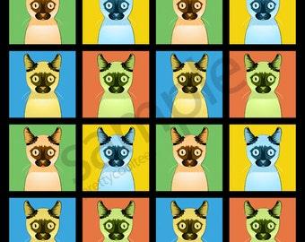 Tonkinese Cat Cartoon Pop-Art T-Shirt Tee - Men's, Women's Ladies, Short, Long Sleeve, Youth Kids