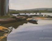 Original Plein Air Fishing Boats Oil on Canvas/ Landscape Fine Art/ Seaside/ Impressionist/ Abstract